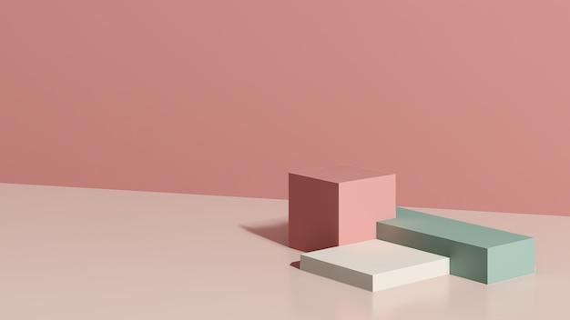 Imagem renderizada em 3d branco verde pódio com fundo rosa anúncio de exibição de produto