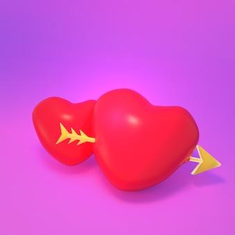 Imagem renderizada em 3d de corações vermelhos com uma flecha dourada