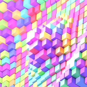 Imagem renderizada em 3d de cubos de arco-íris abstratos na parede