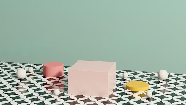 Imagem renderizada em 3d rosa amarelo pódio com fundo verde anúncio de exibição de produto
