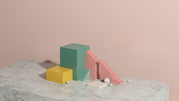 Imagem renderizada em 3d rosa amarelo verde pódio da escada com fundo rosa anúncio de exibição de produto