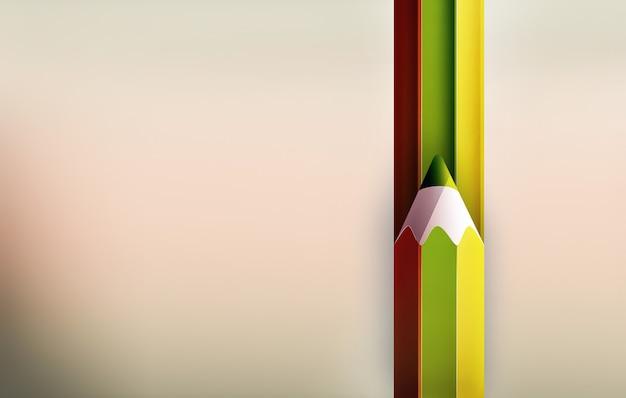 Imagem simples com lápis e listras coloridas