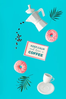 Imagem surrealista de levitação, café e dois donuts rosa nas mãos. voando grãos de café. cafeteira de cerâmica e xícara de café expresso. folhas de fundo de cor menta verde vibrante, moderno e ousado com folhas de palmeira.