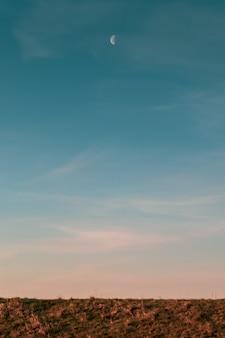 Imagem vertical da lua e do céu azul acima de um campo durante o pôr do sol à noite
