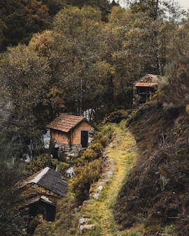Imagem vertical de casas tradicionais em uma vila ao lado de uma montanha cercada por árvores