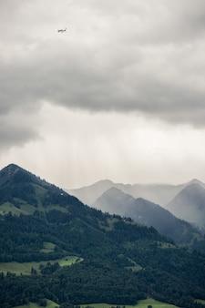 Imagem vertical de montanhas rochosas cobertas por florestas e névoa sob o céu nublado