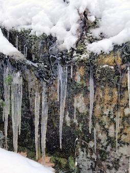 Imagem vertical de pingentes de gelo em uma rocha coberta de neve e musgos sob a luz do sol
