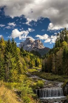 Imagem vertical de um rio em uma floresta com pedras sob um céu nublado