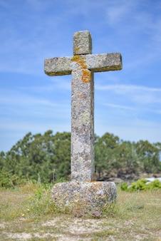 Imagem vertical de uma cruz de pedra coberta de musgos cercada por vegetação sob a luz do sol