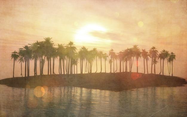 Imagem vintage 3d de uma ilha tropical