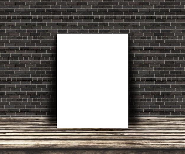 Imagens 3d em branco sobre uma mesa de madeira encostada a uma parede de tijolos