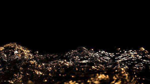 Imagens borradas de óleo líquido de gasolina diesel espirrando e subindo para o ar no preto