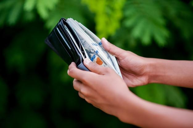 Imagens de mão e bolsa de dólar conceito de finanças de mulher