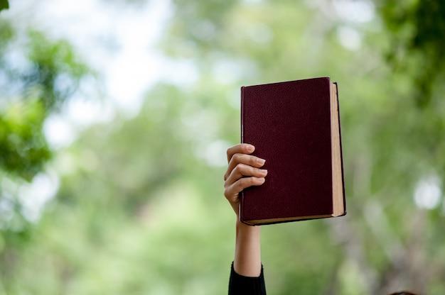 Imagens de mão e livros conceito de educação com espaço de cópia