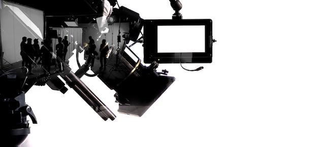 Imagens de silhueta da produção de filmes nos bastidores ou broll de fazer um filme comercial de vídeo