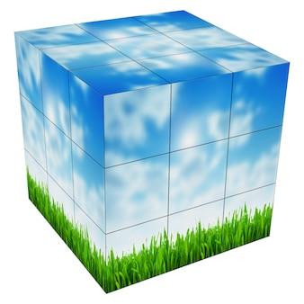 Imagens em cubo de rubik de plantas na primavera