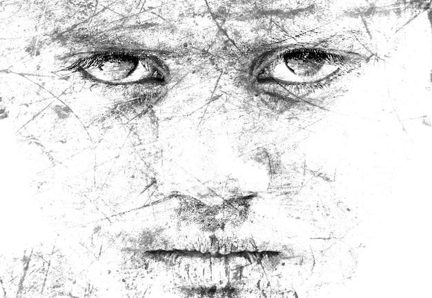 Imagens monocromáticas de cara de homem com rachaduras e arranhão art idea