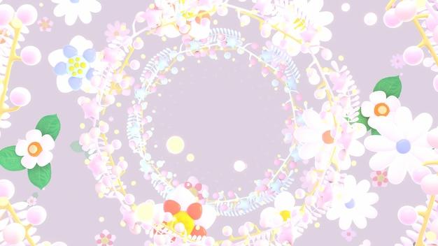 Imagens renderizadas em 3d com lindas grinaldas de flores