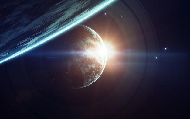 Imaginação do espaço profundo, planetas, estrelas e galáxias no universo infinito