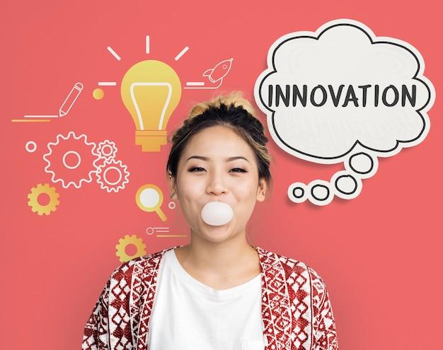 Imaginando um balão de pensamento de inspiração criativa