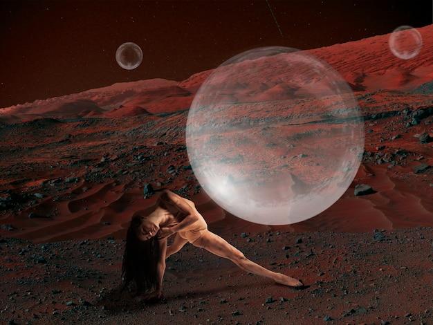 Imagine que as pessoas vivam em marte. feche a paisagem de um planeta abandonado, a beleza da vida em marte. bailarina em uma câmara protetora de oxigênio, bolha. exploração do desconhecido e da vida em um novo espaço.