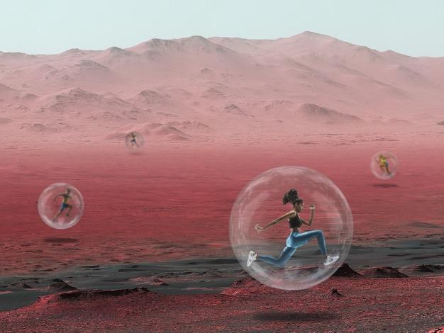 Imagine que as pessoas vivam em marte. feche a paisagem de um planeta abandonado, a beleza da vida em marte. corredor profissional em uma câmara protetora de oxigênio, bolha. exploração da vida em um novo espaço.