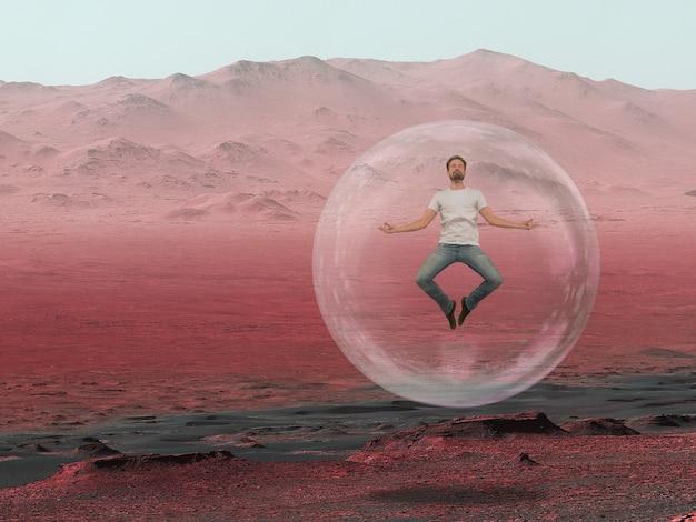 Imagine que as pessoas vivam em marte. feche a paisagem de um planeta abandonado, a beleza da vida em marte. pulando homem em uma câmara protetora de oxigênio, bolha. exploração do desconhecido e da vida em um novo espaço.