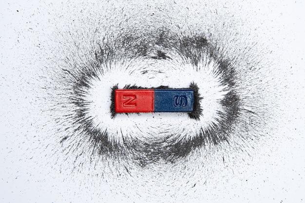 Íman em barra com campo magnético de pó de ferro