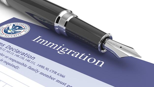 Imigração documento ilustração 3d