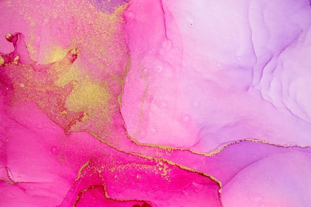 Imitação gradiente aquarela abstrata de rosa e violeta com glitter dourado