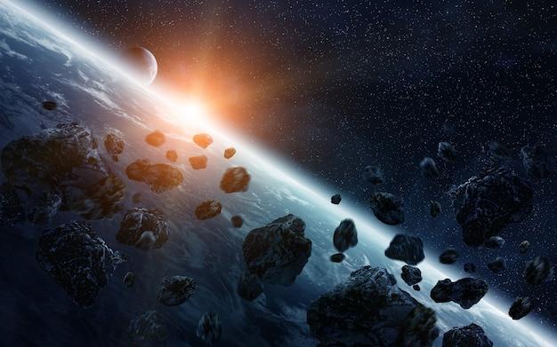 Impacto de meteorito no planeta terra no espaço