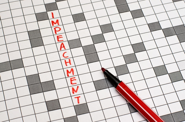 Impeachment. texto em palavras cruzadas. letras vermelhas