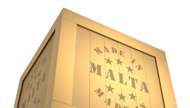 Importar - exportar caixa de madeira. fabricado em malta. ilustração 3d