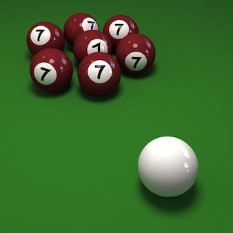Impossível jogo de bilhar mostrando sete bolas com o número 7