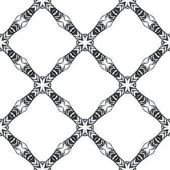 Impressão criativa pronta para têxteis, tecido de biquíni, papel de parede, embrulho. design de verão chique boho magnífico preto e branco. repetindo a borda desenhada mão listrada. desenho listrado desenhado à mão. Foto Premium