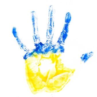 Impressão da mão da criança nas cores da bandeira da ucrânia, isolada no branco