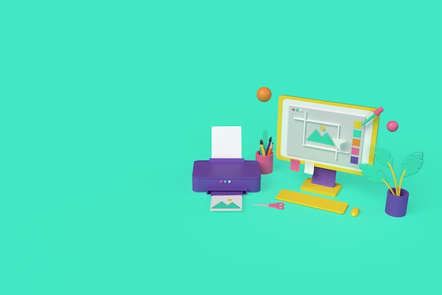 Impressão de imagens com computador. ilustração de renderização 3d