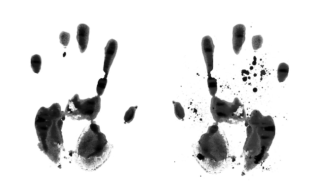 Impressão de mão preta em fundo branco