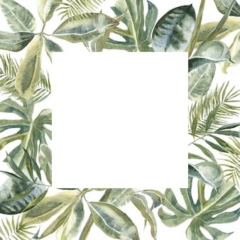 Impressão de pele de animal selvagem quadrado flores, folhas tropicais moldura quadrada. grinalda floral exótica. fronteira de folhas de palmeira