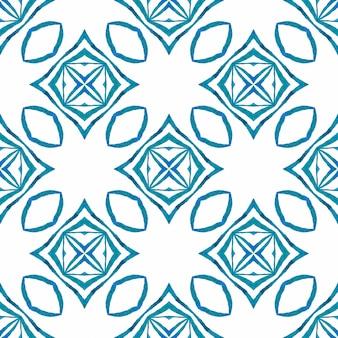 Impressão deslumbrante pronta para têxteis, tecido de biquíni, papel de parede, embrulho. design de verão chique de boho justo azul. aquarela ikat repetindo a borda da telha. ikat repetindo design de trajes de banho.
