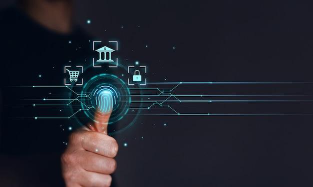 Impressão digital do empresário verifica o acesso de segurança pessoal com identificação biométrica. inovação, tecnologia biométrica e segurança financeira