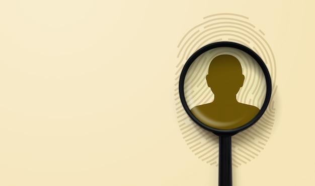Impressão digital e lupa acima do ícone humano