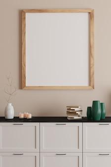 Impressão em moldura em branco na parede branca em um lindo quarto com estilo dinamarquês