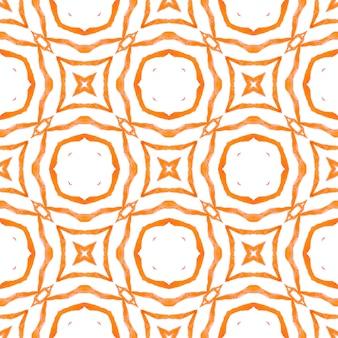 Impressão interessante pronta para têxteis, tecido para biquínis, papel de parede, embrulho. design chique de verão laranja alucinante boho. ikat repetindo design de trajes de banho. aquarela ikat repetindo a borda da telha.
