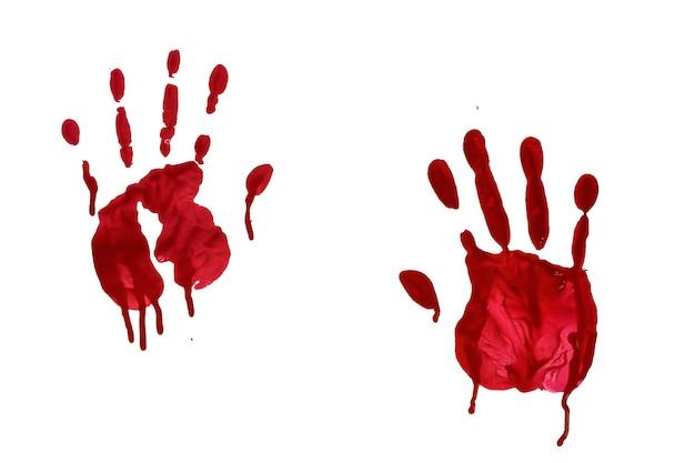 Impressão sangrenta da mão do horror