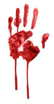 Impressão sangrenta de uma mão e dedos isolados