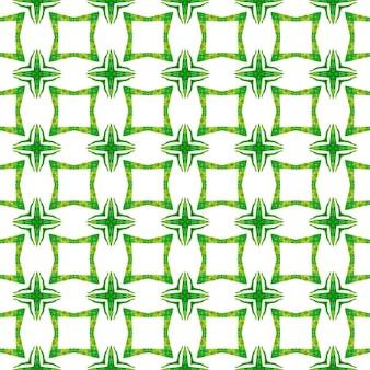 Impressão simétrica em tecido pronto, tecido de biquíni, papel de parede, embrulho. projeto chique do verão do boho mesmérico verde. ikat repetindo design de trajes de banho. aquarela ikat repetindo a borda da telha.