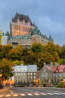 Impressionante, crepúsculo, vista, de, antigas, cidade quebec, em, outono, estação, quebec, canadá