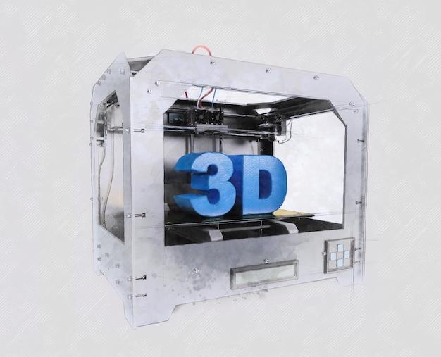 Impressora 3d dimensional com efeito de esboço
