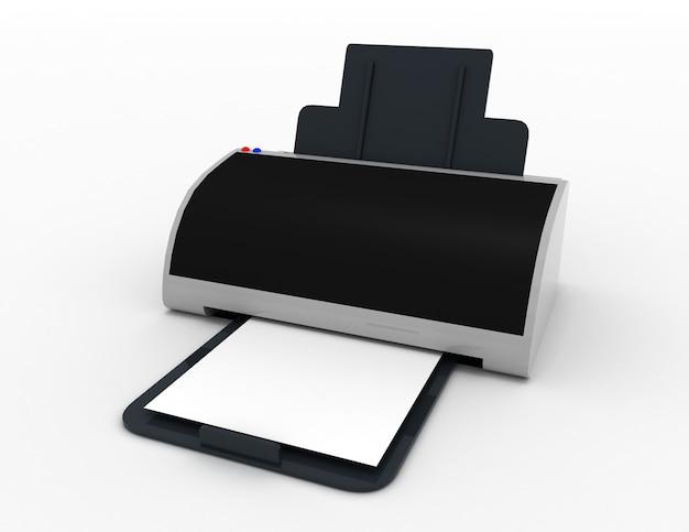 Impressora 3d. impressão de fotos. ilustração renderizada em 3d